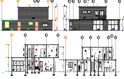 Stage House Architecture Elevation and Section dwg file