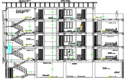 Stair Case Elevation and Section Details of Five Star hotel dwg file