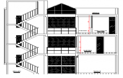 Stair Case Elevation of Multifamily Housing Building dwg file