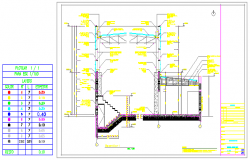 Stair case design drawing of GYM design