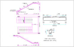 Stair case elevation,plan and section with construction view for office building dwg file