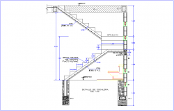 Stair elevation with construction view for house dwg file