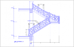 Stair elevation with construction view for office dwg file