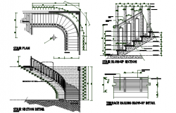 Stair plan, elevation plan and section plan detail dwg file