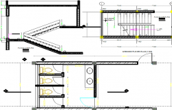 Stair plan and elevation, toilet plan detail dwg file