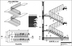 Stair plan and elevation detail dwg file