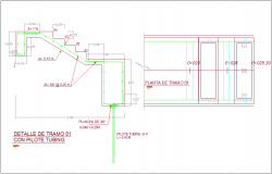 Stair section and elevation view detail dwg file