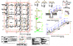 Stair section and foundation plan detail dwg file