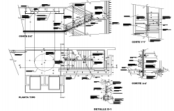 Stair section and plan detail dwg file