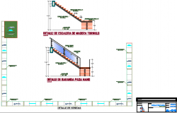 Stair section and veranda detail dwg file