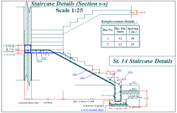 Stair section plan detail view dwg file