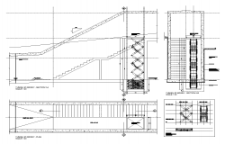 Stair structure detail elevation, plan and sectional layout dwg file