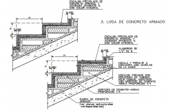 Stair way section detail dwg file