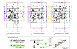 Staircase and beam section plan detail dwg file