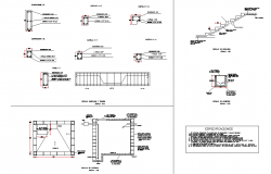 Staircase and column section plan detail dwg file