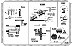 Staircase and construction details of corporate building dwg file