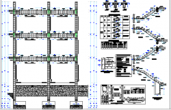 Staircase and construction details of three level multi-family building dwg file