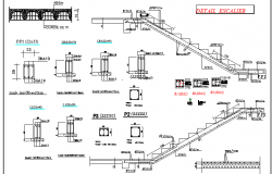 Staircase and construction details of villa design dwg file