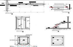 Staircase and constructive details of administration building dwg file
