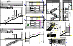 Staircase and constructive details of bungalow dwg file