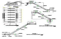 Staircase and constructive details of corporate building dwg file