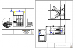 Staircase and railing architecture project dwg file