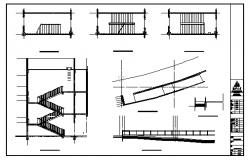 Staircase and ramp detail design drawing of Sports Center tennis court