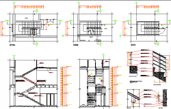 Staircase and sectional details of shopping mall dwg file