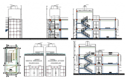 Staircase and sectional view details of multi-flooring residential building dwg file