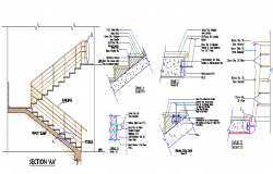 Staircase construction details of apartment flats dwg file