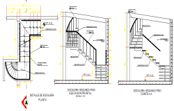 Staircase construction details of building dwg file