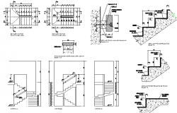 Staircase construction details of house dwg file