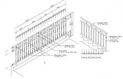 Staircase construction details of school dwg file
