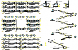 Staircase construction details with column and beam view dwg file