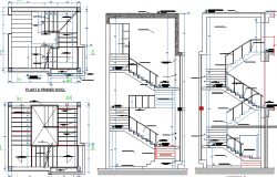 Staircase construction details with ladder dwg file