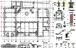 Staircase construction, foundation of column, beam details dwg file