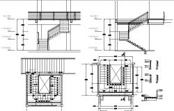 Staircase constructive details of building dwg file