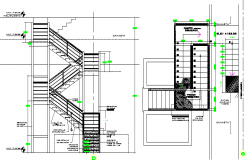Staircase constructive details of house dwg file