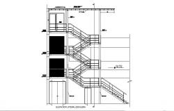 Staircase constructive section details of house dwg file