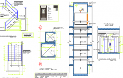 Staircase detailed constructive view dwg file