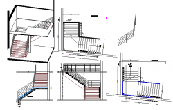 Staircase details of all floors of house dwg file