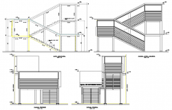 Staircase elevation and section detail dwg file