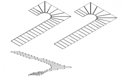 Staircase elevation of junction dwg file