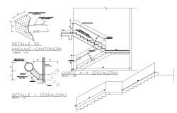Staircase of building section and construction cad drawing details dwg file