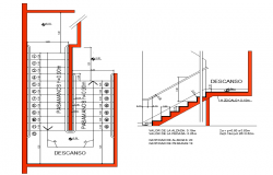 Staircase plan and section detail dwg file