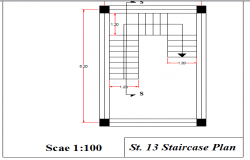 Staircase plan of twelve story building dwg file