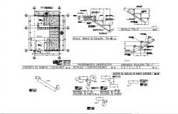 Staircase section, plan and construction cad drawing details dwg file