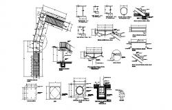 Staircase section and construction details with column dwg file