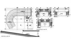 Staircase section and construction details with ramp cad structure details dwg file