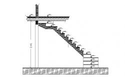Staircase section and constructive structure details dwg file